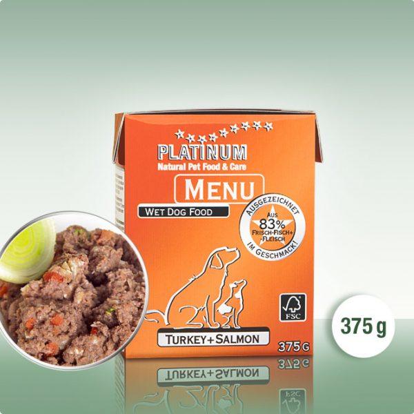 Мека Кучешка Храна PLATINUM MENU Пуйка + Сьомга