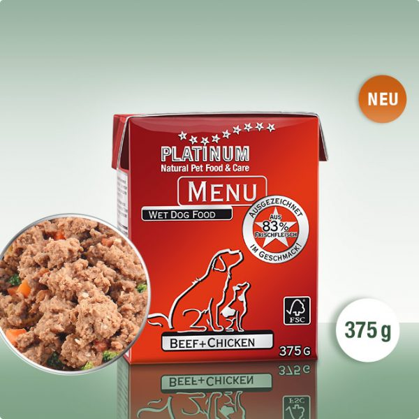 Мека Кучешка Храна PLATINUM MENU Говеждо + Пиле