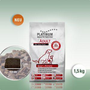 Суха Храна за кучета Platinum Adult Beef + Potato 1.5 kg