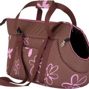 Чанта за куче кафява на цветя