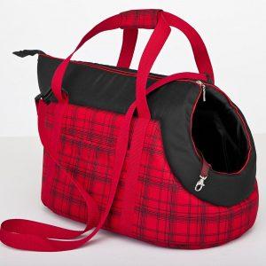 Чанта за куче червено/черно