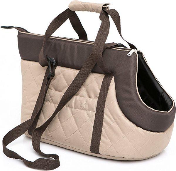 Чанта за куче бежово/кафяво