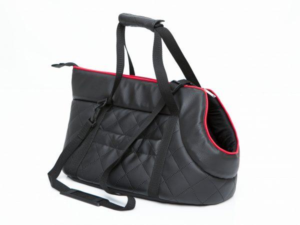 Транспортна чанта за куче, еко кожа, черна