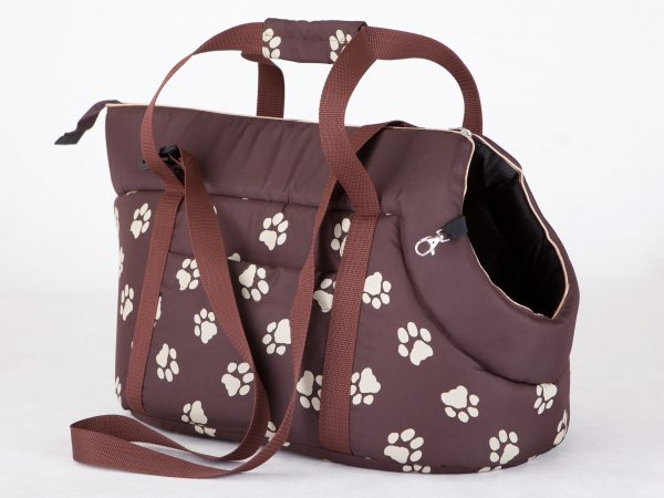 Чанта за куче кафява на лапички