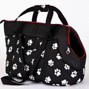 Чанта за куче черна на лапички