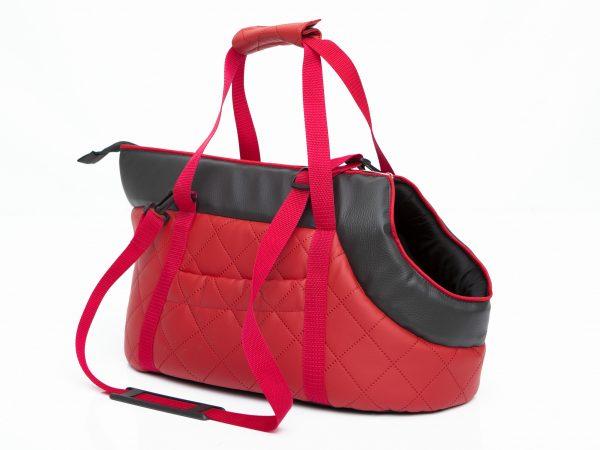 Чанта за куче, еко кожа, червена