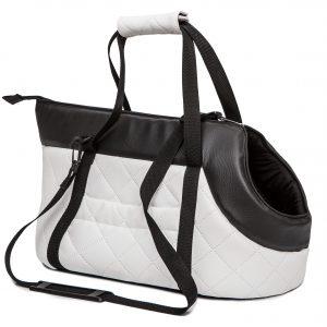 Чанта за куче, еко кожа, бяло/черно