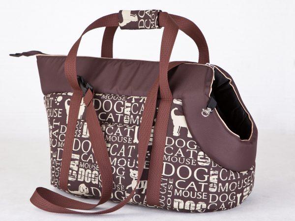 Чанта за куче кафява с надписи