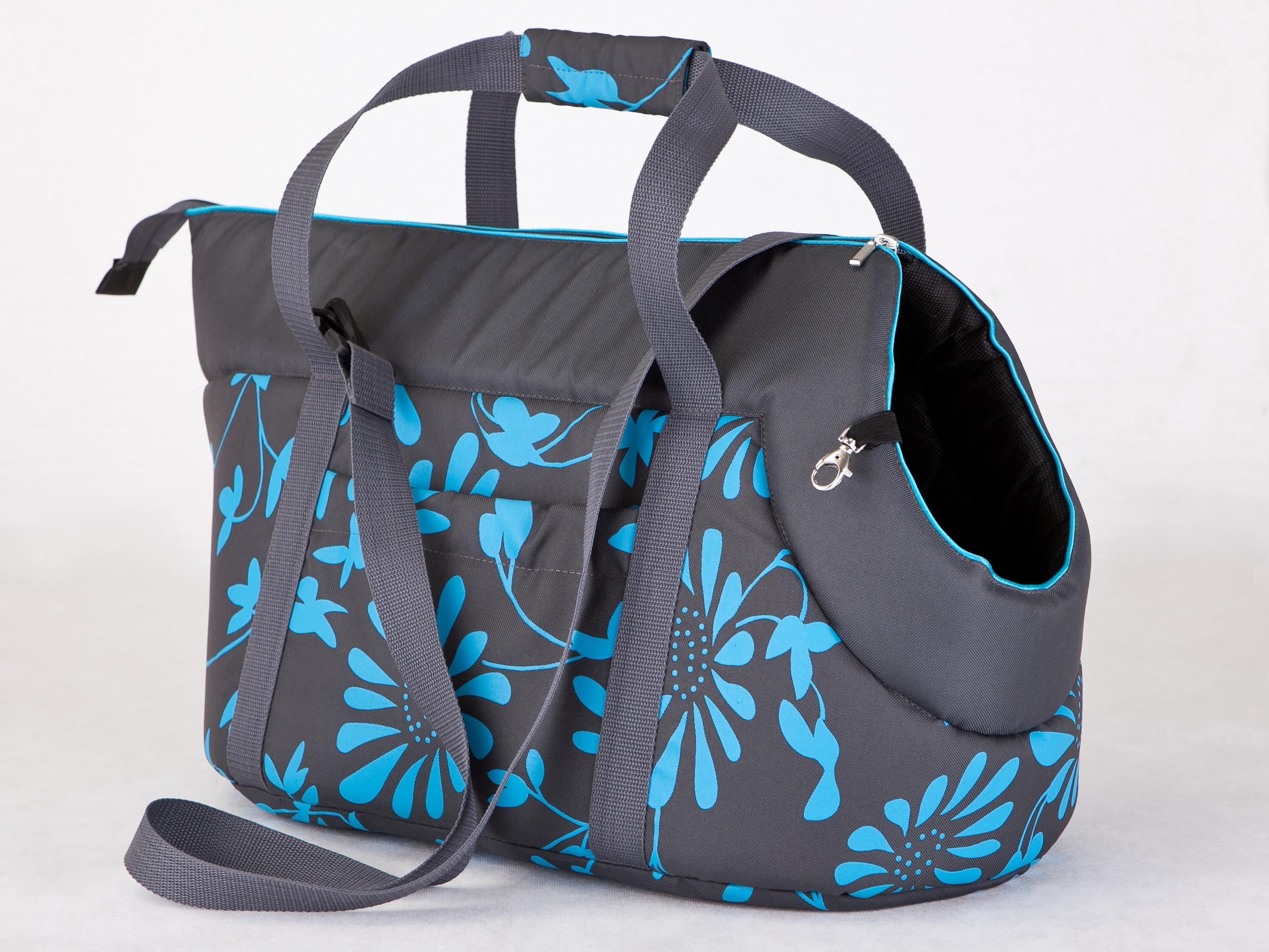 Чанта за куче графит на цветя