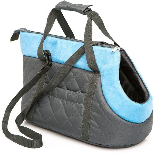 Чанта за куче черно/тюркоаз