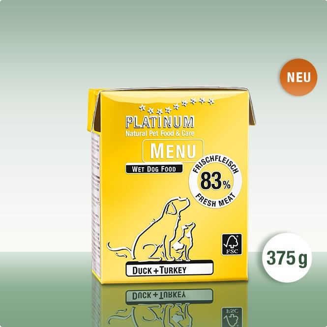 Мека храна за Кучета PLATINUM MENU Патица + Пуйка 12 х 375g